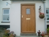 A hand crafted oak front door